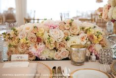 Cream, blush, and white roses. romantic vintage reception wedding flowers