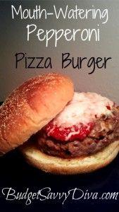 Pizza Burger Recipe using turkey pepperoni and no bun to make it even healthier