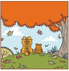 Garfield: a best friend is , someone you can sit with in silence and take in the view. Garfield Pictures, Garfield Quotes, Garfield Cartoon, Garfield And Odie, Garfield Comics, Book Cover Art, Comic Book Covers, Cute Characters, Cartoon Characters