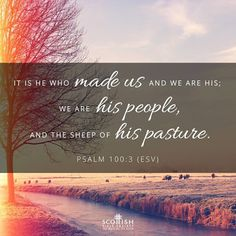 """""""Know ye that the LORD he is God: it is he that hath made us, and not we ourselves; we are his people, and the sheep of his pasture."""" Psalm 100:3 KJV"""