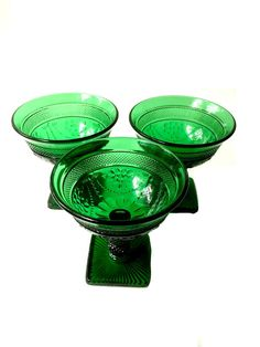 Dark Green Depression Glass Compote Bowls.  Set of Three Depression Dessert Dishes.