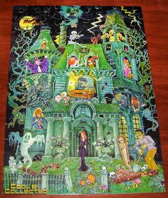 Springbok House on Haunted Hill puzzle: my favorite puzzle growing up. For my next miniature book project? Halloween Puzzles, Halloween Clipart, Halloween Images, Halloween Crafts, Happy Halloween, Puzzle Shop, Puzzle Art, House On Haunted Hill, Autumn Art