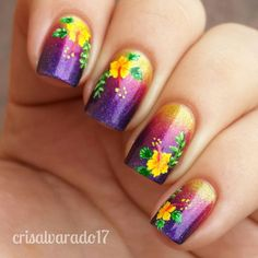 Top 14 Hibiscus Summer Nail Designs – New Cute & Simple Home Manicure Style - Easy Idea Nail Art Hibiscus, Tropical Nail Art, Flower Nail Art, Beach Nail Designs, Nail Designs Spring, Cute Nail Designs, Spring Nails, Summer Nails, Hawaiian Nails