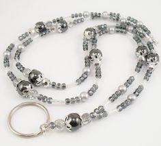 Beaded Badge Holder Necklace   Beaded ID Lanyard, Badge Holder, ID Necklace - Hematite, Grey Glass ...