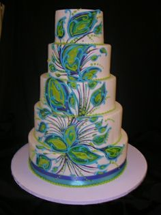 Abstract yet simple peacock cake design Peacock Cake, Peacock Wedding Cake, Wedding Cakes, Gorgeous Cakes, Pretty Cakes, Amazing Cakes, Cake Cookies, Cupcake Cakes, Cupcakes