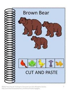 BROWN BEAR CUT AND PASTE-Pre-K,K and Special Education-Children love activities where they can use scissors and glue sticks. So I put together this set of Cut and Paste worksheets to go along with my Brown Bear File Folder Game.