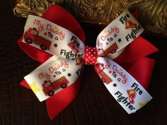 4 Firefighter boutique bow  my daddy is a fire fighter by Bow2sew, $2.49