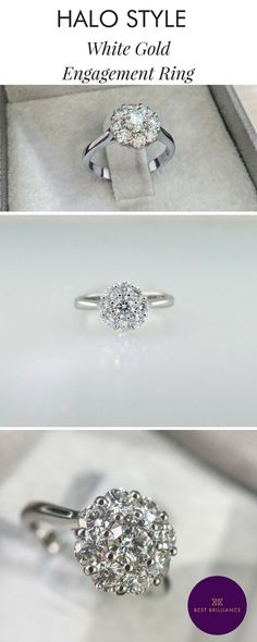 d1f6e166f 1 Carat Round Brilliant Cut Floral Halo Diamond Ring - 14K White Gold  Unique Style #J99921. Wedding Matches ...