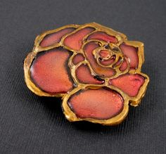 Faux Enameled Blush Wine Rose Polymer Clay Brooch by PaisleyLizardDesigns, $24.00
