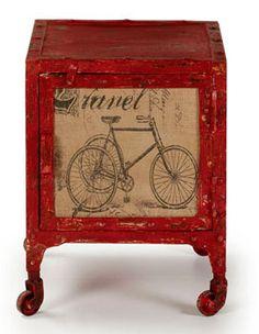 Mesilla de hierro envejecido rojo y puerta de madera decorada