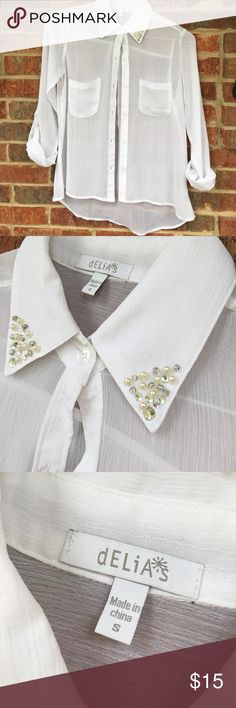 Delias sheer beaded top NWOT Top has sewn beads and pearls on collar perfect condition!! Tops