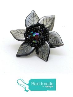 Dark gray leaf ring RG787 from Nazo Design https://www.amazon.com/dp/B01HMT93CW/ref=hnd_sw_r_pi_dp_qRy6xbP3NTBAK #handmadeatamazon
