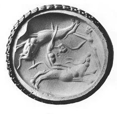 Minoan seal depicting bull-jumping. Cretan work of 1550-1500 (Late Minoan I).