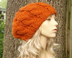 Hand Knit Hat Womens Hat - Cable Beret Hat in Orange Pumpkin - Fall Fashion Autumn Fashion Autumn Accessories Chunky Knit. $60.00, via Etsy.