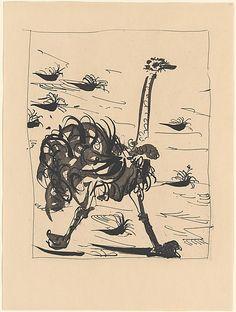 Pablo Picasso, The Ostrich (Histoire Naturelle - Textes de Buffon, Picasso Prints, Pablo Picasso Drawings, Picasso Paintings, Picasso Art, Ink Drawings, The Ostrich, Spanish Art, Art Institute Of Chicago, Museum Of Modern Art