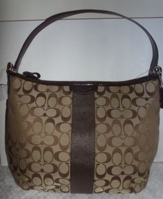 NWT Coach Signature Stripe Convertible Hobo Crossbody K. Starting at $1 on Tophatter.com!