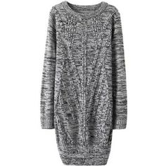 SheIn(sheinside) Cable Knit Long Pale Grey Pullover Fairisle Sweater