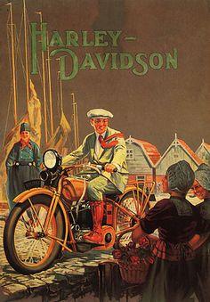 Motorcycle Bike Harley Davidson Path Rider Girls Vintage Poster Repro Large | eBay