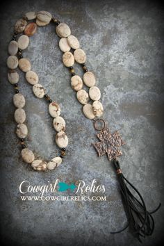Lola Copper Cross and Fringe Western Necklace