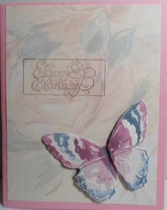 First of three cards using the same background paper - all with butterflies - all are quite different...