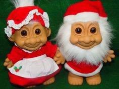 Remember these? Trolls, yeah! A little bit creepy, a lit bit cute. Christmas clothes make them look a little more inviting. Grab this pair to complete your collection, if you have one!