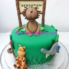 Tarta infantil animales de la selva / Pastel fondant animales de la selva