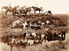 """One can assume three months of cattle driving leaves hard working, sweaty cowboys in need of a bath! Back in the 1800's and early 1900's, men would bathe in watering holes only every so often. There was an idea floating around that the water could make people sick. Even so, women would bathe in their homes, however, this """"bathing"""" would consist of a pitcher of water and a quick wipe down."""