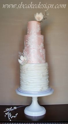 Lace Wedding Cakes Tulle and Lace Wedding Cake - Cake by SB Cake Design - Round Wedding Cakes, Wedding Cake Stands, White Wedding Cakes, Beautiful Wedding Cakes, Beautiful Cakes, Lace Wedding, Amazing Cakes, White Cakes, Cupcakes