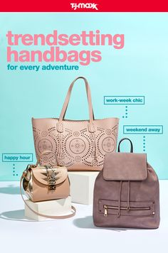 You need a handbag that can keep up this summer. Whether you're heading out for dinner, taking a weekend trip, or making the daily commute, T.J.Maxx and tjmaxx.com has crossbody bags, tote bagsand backpacks for every adventure. Find your new favorite bag at T.J.Maxx.