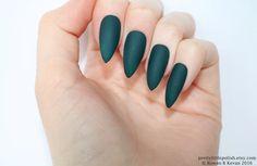 Matte dark green stiletto nails, Fake nail, Stiletto nail, Kylie jenner, Press on nail, Acrylic nail, Fake nail stiletto by prettylittlepolish on Etsy https://www.etsy.com/listing/469855739/matte-dark-green-stiletto-nails-fake