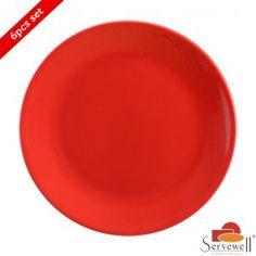 Servewell 6 Pc Urmi Side Plate Set - Red