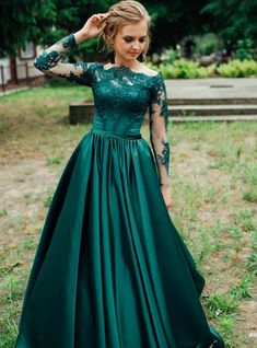 Green Satin Long Sleeve Lace Prom Dress, Green Lace Formal Dress sold by Girlsprom. Shop more products from Girlsprom on Storenvy, the home of independent small businesses all over the world. Green Evening Dress, Long Sleeve Evening Dresses, Prom Dresses With Sleeves, A Line Prom Dresses, Ball Gowns Prom, Prom Dress Long, Green Dress, Party Dresses, Dress Black