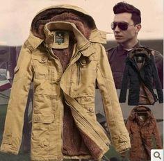 New 2014 Winter Men'S Cashmere Frock Coat Long Slim parka men winter Hooded Cotton Padded winter jacket men Free Shipping H1284