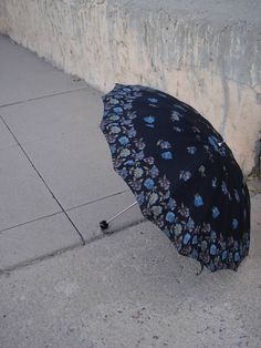 1960s Black Umbrella Parasol with Blue Plum by bycinbyhand on Etsy,