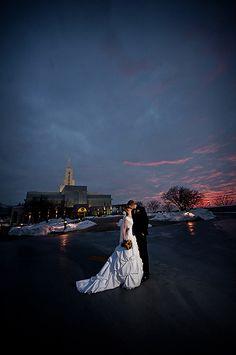 wedding sunset shot bountiful LDS temple