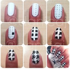 Hounds tooth patterned nails. Manicure would have been cuter with the tiny polka dots