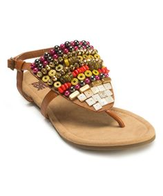 Love this Camel Harlow Beaded Sandal by MUK LUKS on #zulily! #zulilyfinds