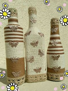 Wine Bottle Crafts – Make the Best Use of Your Wine Bottles – Drinks Paradise Empty Wine Bottles, Recycled Wine Bottles, Wine Bottle Art, Diy Bottle, Bottles And Jars, Jute Crafts, Handmade Crafts, Diy And Crafts, Jar Art