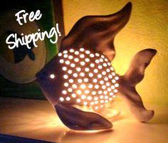 Perfectly Pierced White Ceramic Fish Accent Lamp Night Light - Home Decor