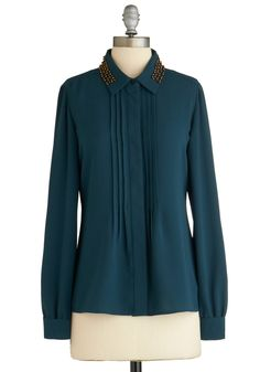 Prove Your Metal Top - Mid-length, Green, Solid, Pleats, Studs, Work, Long Sleeve, Collared, Exclusives