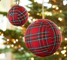 Red Plaid Ball Ornaments #potterybarn