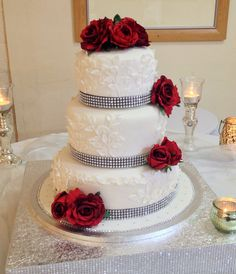 Red Rose Wedding Cake by Sweethearts Cupcakery.