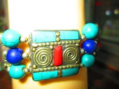 Blue Turquoise Sterling Silver Overlay 15 Grams Bracelet 7-9 Long Focused Design
