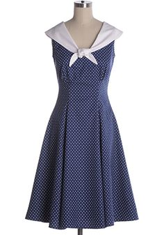 Vintage inspired beauty by Heartbreaker. Full swing skirt. Princess seems to fit through the body. 100% cotton. Not stretchy. Not lined. Back zipper. Indie, Retro, Party, Vintage, Plus Size, Convertible, Cocktail Dresses in Canada Sailor's Sweetheart Dress -