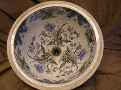 "victorian hand painted bathroom sinks | B22 13"" Victorian Hand-Painted Wedgewood Bowl"