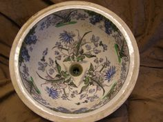"victorian hand painted bathroom sinks | B22 13"" Victorian Hand-Painted Wedgewood Bowl"