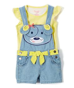 Loving this Yellow Angel-Sleeve Top & Shortalls - Infant, Toddler & Girls on #zulily! #zulilyfinds