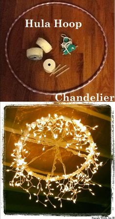 Cool Ways To Use Christmas Lights - Hula Hoop Chandelier - Best Easy DIY Ideas f.Cool Ways To Use Christmas Lights - Hula Hoop Chandelier - Best Easy DIY Ideas for String Lights for Room Decoration, Home Decor and Creative DIY Bedr. Hula Hoop Chandelier, Chandelier Design, Diy Chandelier, Outdoor Chandelier, Homemade Chandelier, Chandelier Wedding, Christmas Chandelier, Diy Wedding Lighting, Chandelier Creative