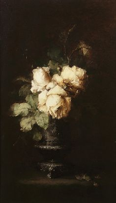 White Roses by Margaretha Roosenboom (Dutch, 1843-1896)