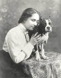 Helen Keller and pet Boston Terrier